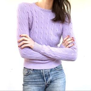 100% luxurious lilac cashmere cableknit sweater